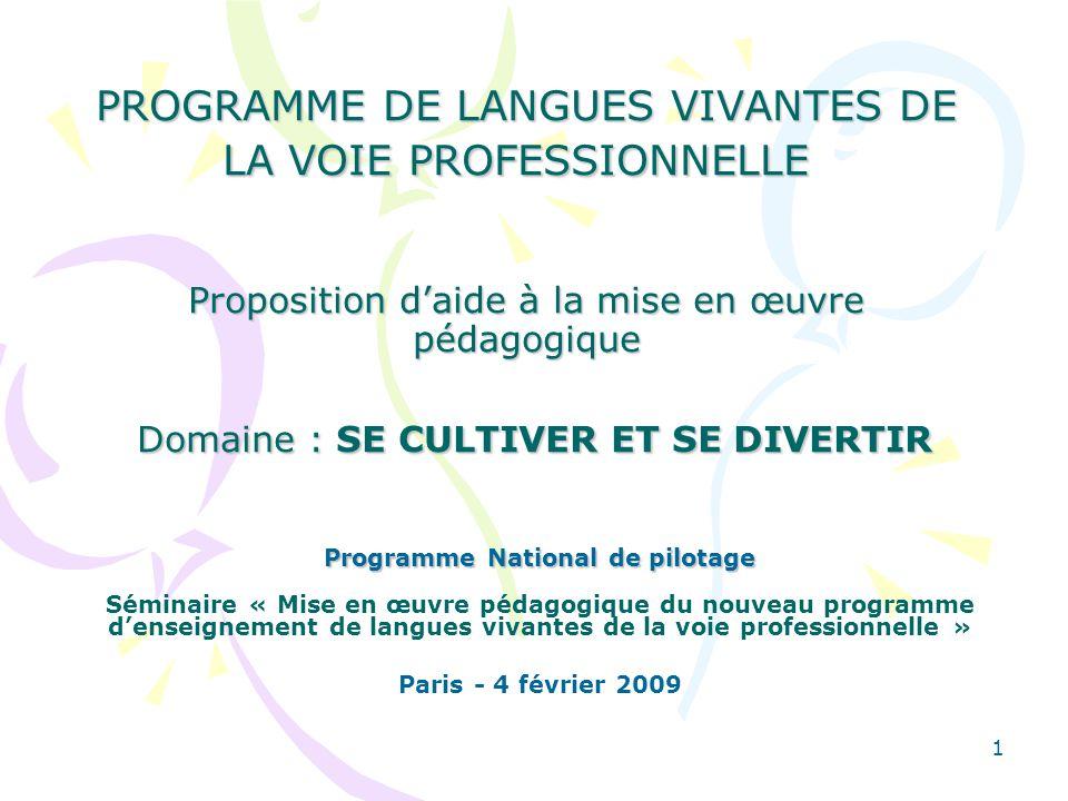 2 PRINCIPE DORGANISATION Quatre propositions daide à la mise en œuvre pédagogique communes aux six langues vivantes enseignées dans la voie professionnelle.
