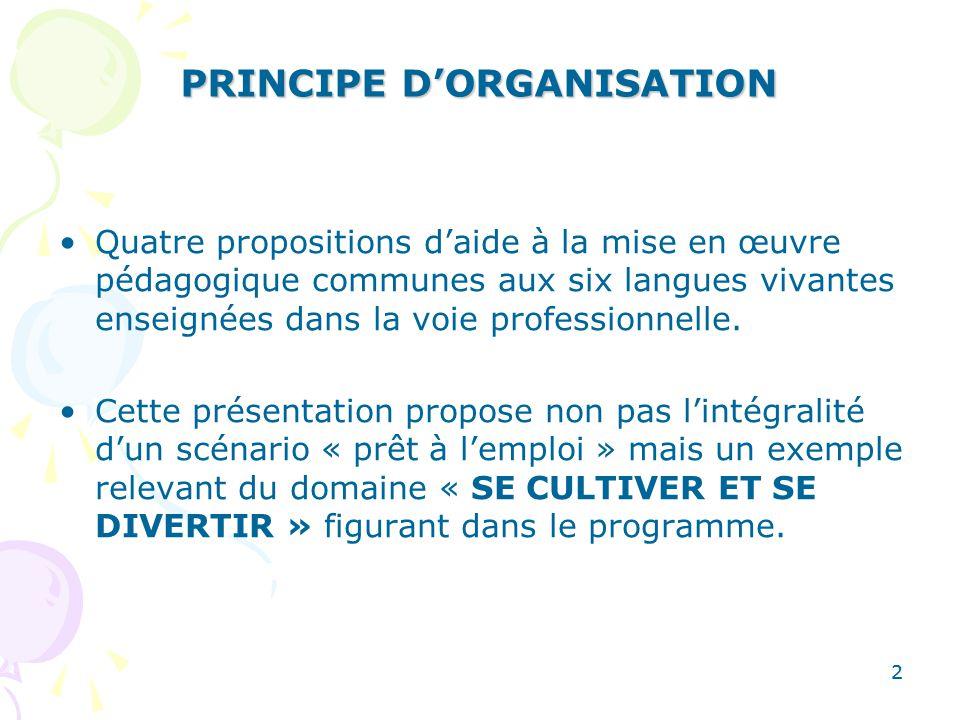 2 PRINCIPE DORGANISATION Quatre propositions daide à la mise en œuvre pédagogique communes aux six langues vivantes enseignées dans la voie profession