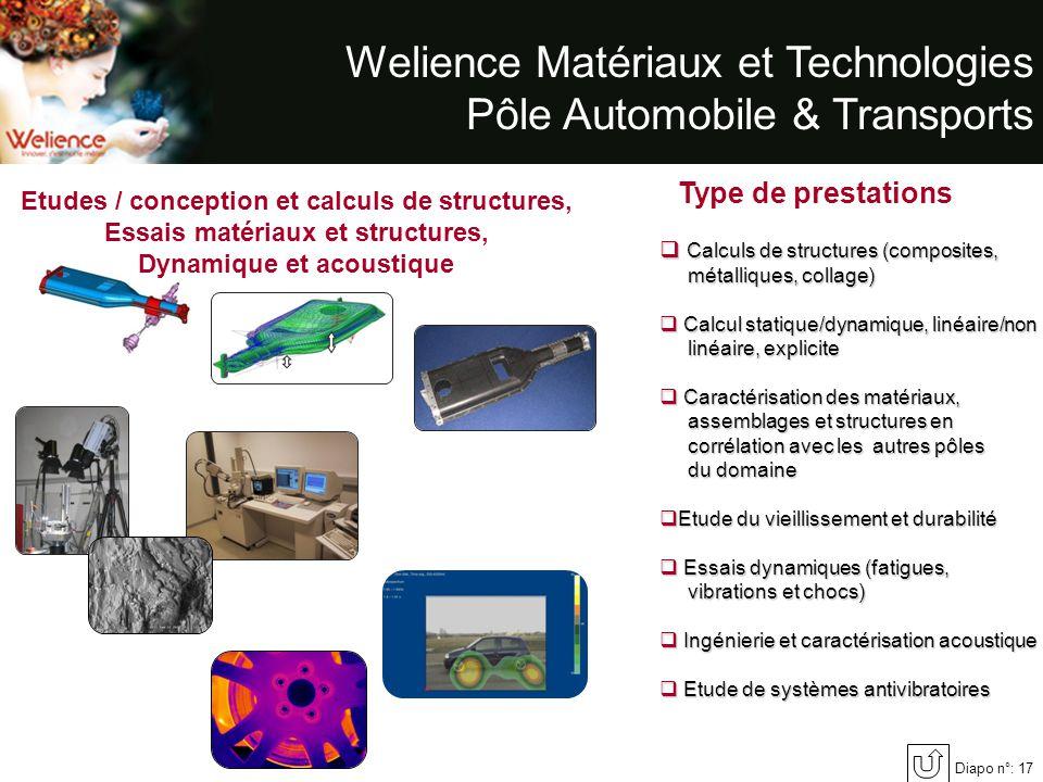 Diapo n°: 17 Welience Matériaux et Technologies Pôle Automobile & Transports Type de prestations Calculs de structures (composites, métalliques, colla