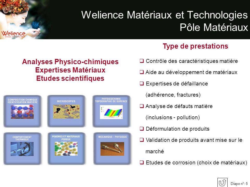 Diapo n°: 5 Welience Matériaux et Technologies Pôle Matériaux Analyses Physico-chimiques Expertises Matériaux Etudes scientifiques Type de prestations
