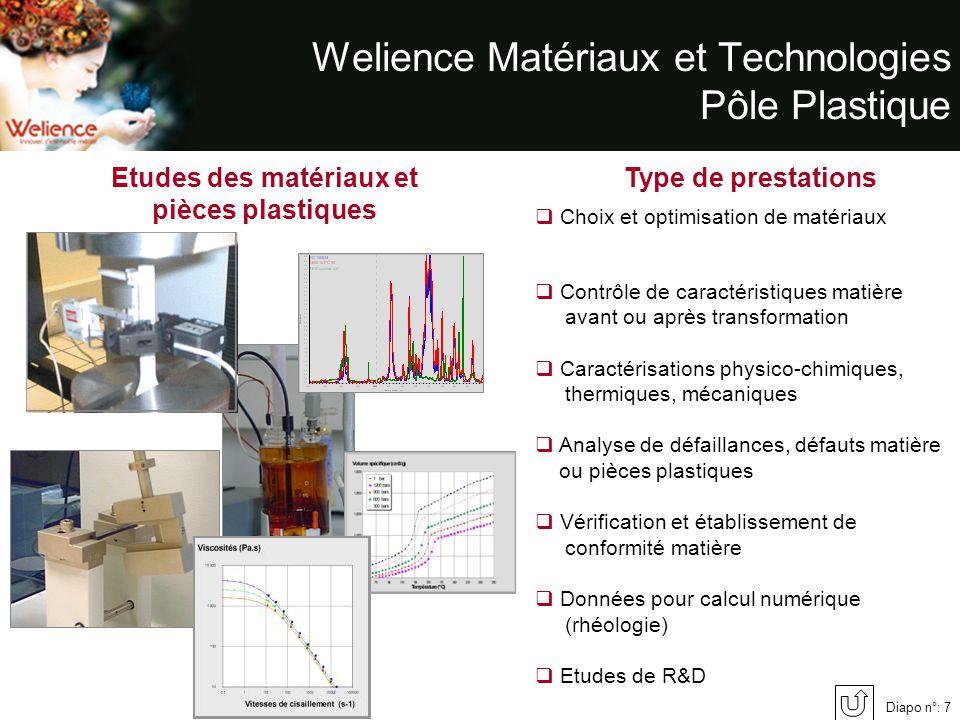 Diapo n°: 7 Welience Matériaux et Technologies Pôle Plastique Etudes des matériaux et pièces plastiques Type de prestations Choix et optimisation de m