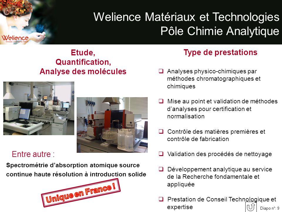 Welience Matériaux et Technologies Pôle Chimie Analytique Etude, Quantification, Analyse des molécules Analyses physico-chimiques par méthodes chromat