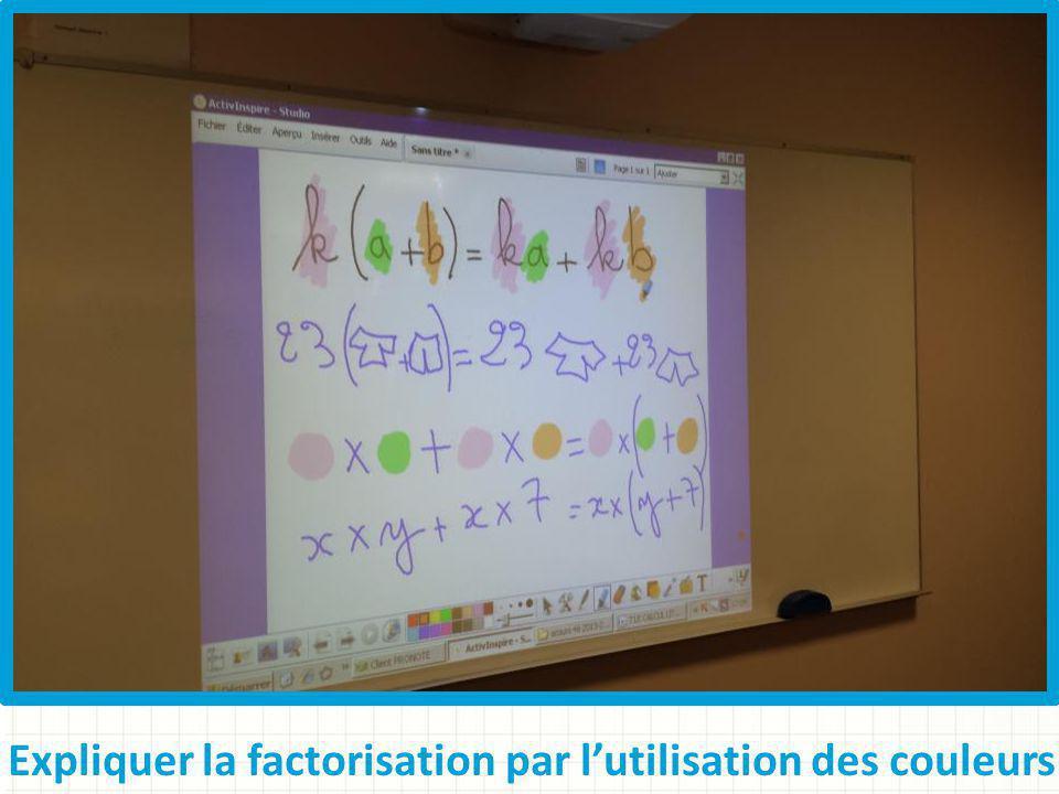 Expliquer la factorisation par lutilisation des couleurs