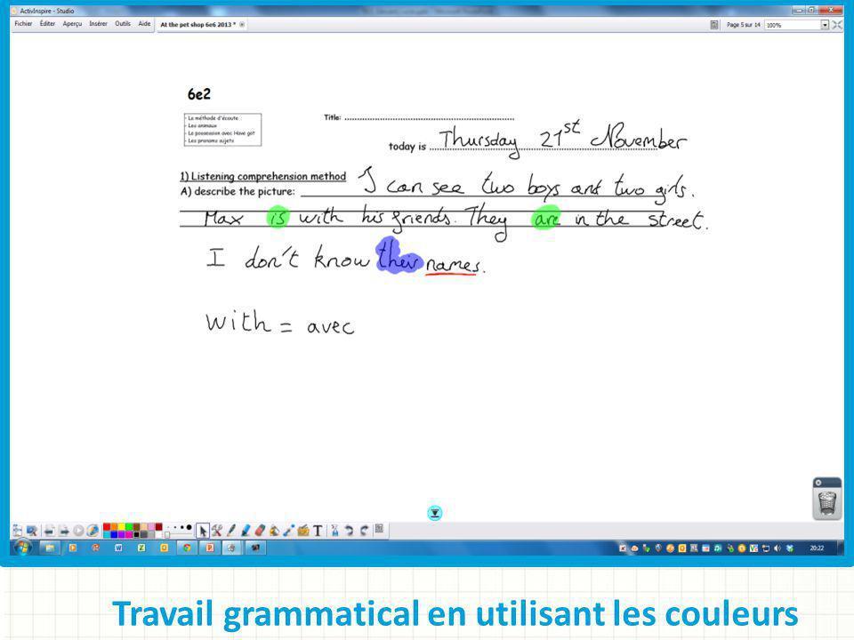 Travail grammatical en utilisant les couleurs