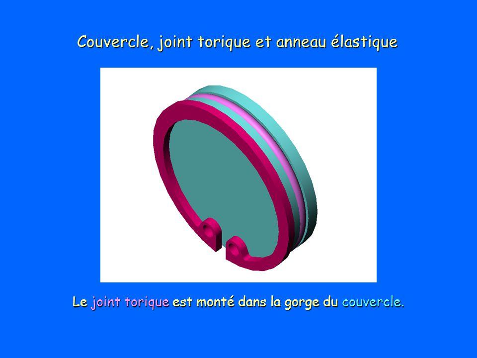 Couvercle, joint torique et anneau élastique Le joint torique est monté dans la gorge du couvercle.