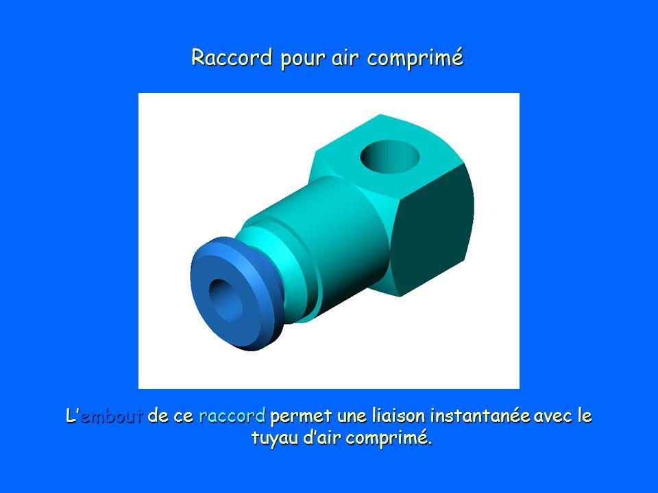 Raccord pour air comprimé Lembout de ce raccord permet une liaison instantanée avec le tuyau dair comprimé.