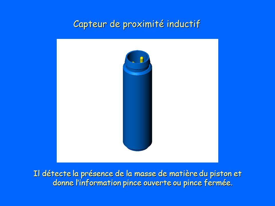 Capteur de proximité inductif Il détecte la présence de la masse de matière du piston et donne linformation pince ouverte ou pince fermée.