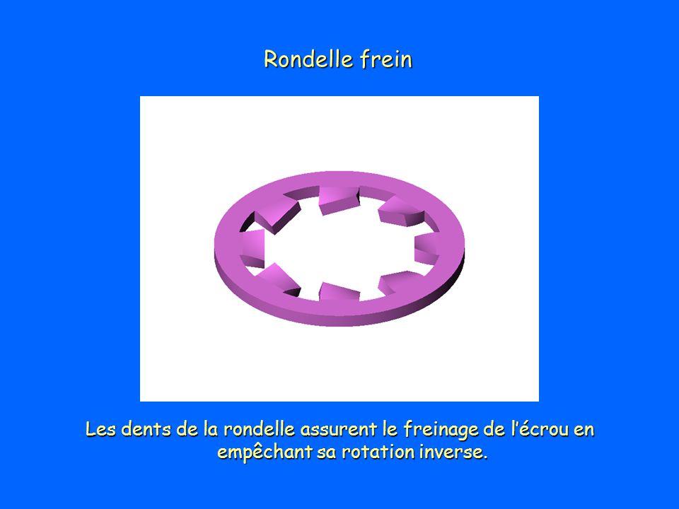 Rondelle frein Les dents de la rondelle assurent le freinage de lécrou en empêchant sa rotation inverse.
