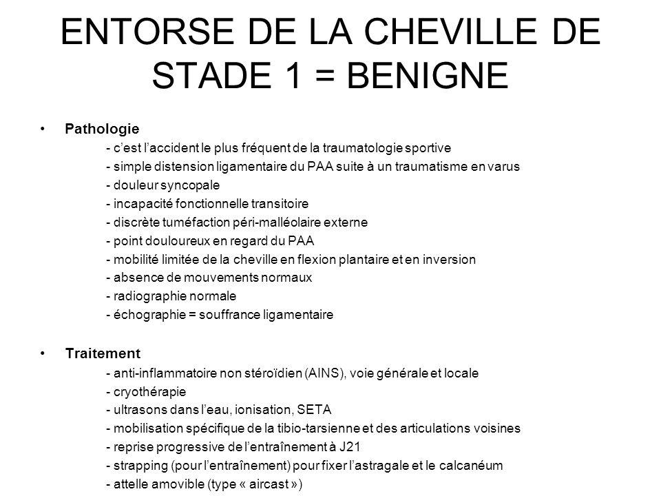 ENTORSE DE LA CHEVILLE DE STADE 1 = BENIGNE Pathologie - cest laccident le plus fréquent de la traumatologie sportive - simple distension ligamentaire