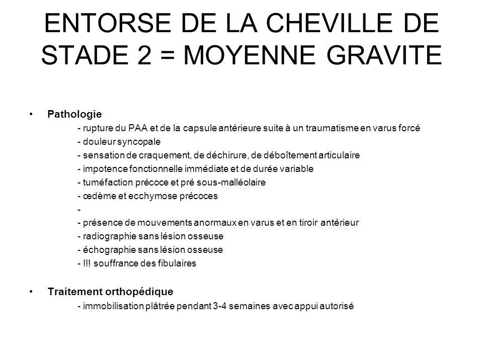 ENTORSE DE LA CHEVILLE DE STADE 2 = MOYENNE GRAVITE Pathologie - rupture du PAA et de la capsule antérieure suite à un traumatisme en varus forcé - do