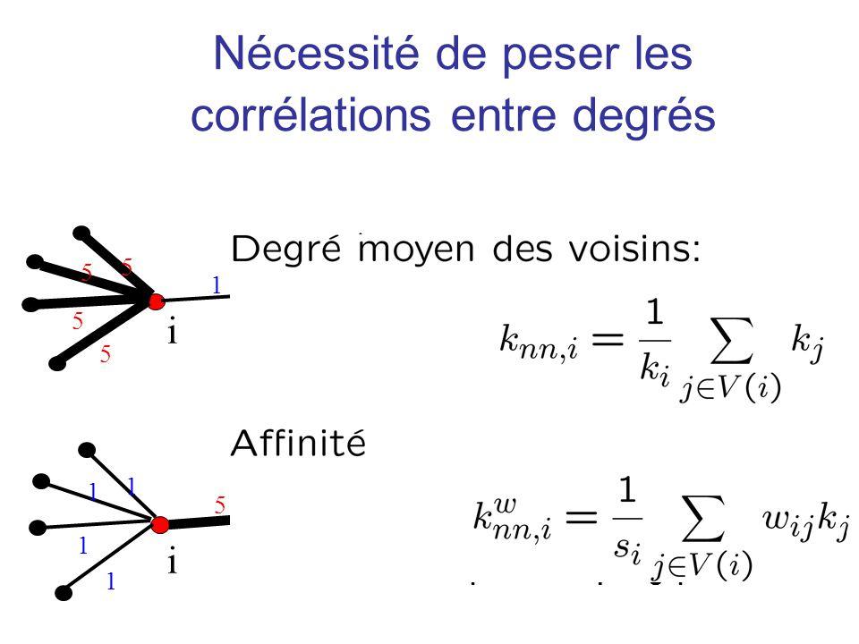 5 1 1 1 1 i Nécessité de peser les corrélations entre degrés 1 5 5 5 5 i Même degré moyen des voisins Définition de laffinité= degré moyen des voisins