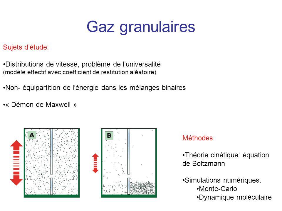 Gaz granulaires Sujets détude: Distributions de vitesse, problème de luniversalité (modèle effectif avec coefficient de restitution aléatoire) Non- éq