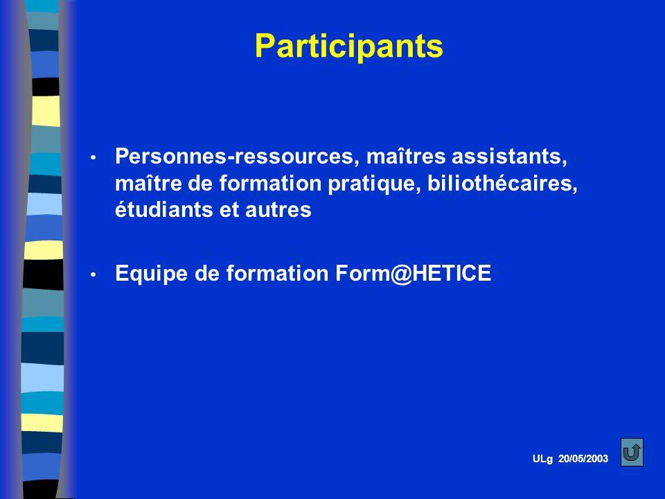 Participants Personnes-ressources, maîtres assistants, maître de formation pratique, biliothécaires, étudiants et autres Equipe de formation Form@HETICE ULg 20/05/2003