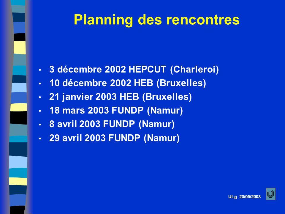 3 décembre 2002 HEPCUT (Charleroi) 10 décembre 2002 HEB (Bruxelles) 21 janvier 2003 HEB (Bruxelles) 18 mars 2003 FUNDP (Namur) 8 avril 2003 FUNDP (Namur) 29 avril 2003 FUNDP (Namur) Planning des rencontres ULg 20/05/2003