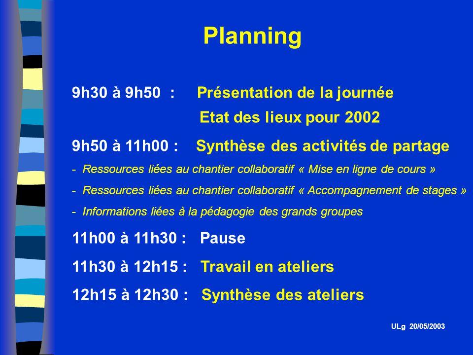 Planning 9h30 à 9h50 : Présentation de la journée Etat des lieux pour 2002 9h50 à 11h00 : Synthèse des activités de partage - Ressources liées au chantier collaboratif « Mise en ligne de cours » - Ressources liées au chantier collaboratif « Accompagnement de stages » - Informations liées à la pédagogie des grands groupes 11h00 à 11h30 : Pause 11h30 à 12h15 : Travail en ateliers 12h15 à 12h30 : Synthèse des ateliers ULg 20/05/2003