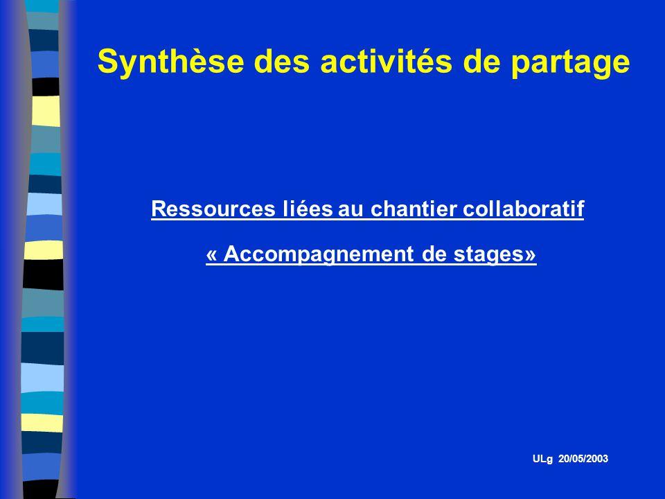 Synthèse des activités de partage ULg 20/05/2003 Ressources liées au chantier collaboratif « Accompagnement de stages»