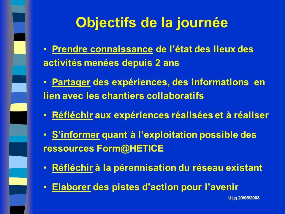 Présentation des expériences menés au sein des Hautes Ecoles ULg 20/05/2003