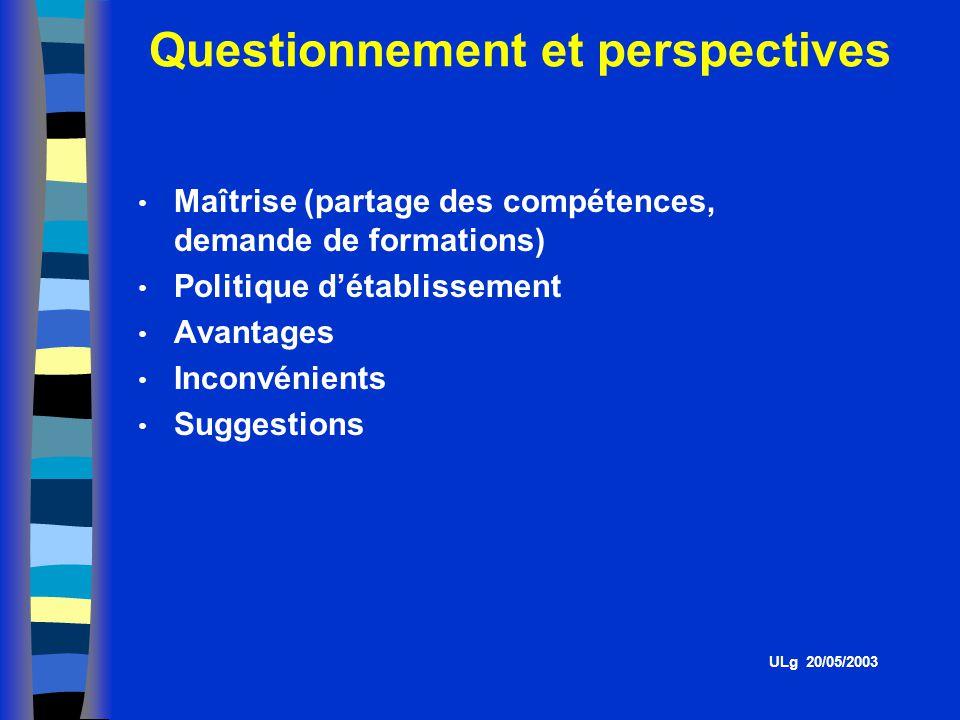 Questionnement et perspectives ULg 20/05/2003 Maîtrise (partage des compétences, demande de formations) Politique détablissement Avantages Inconvénients Suggestions