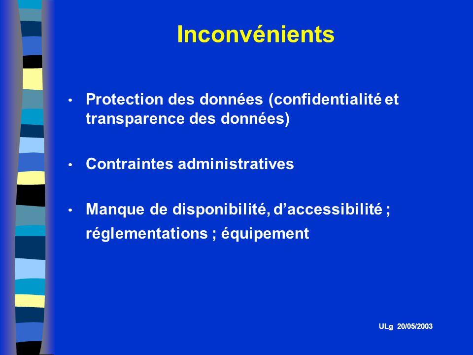 Inconvénients ULg 20/05/2003 Protection des données (confidentialité et transparence des données) Contraintes administratives Manque de disponibilité, daccessibilité ; réglementations ; équipement