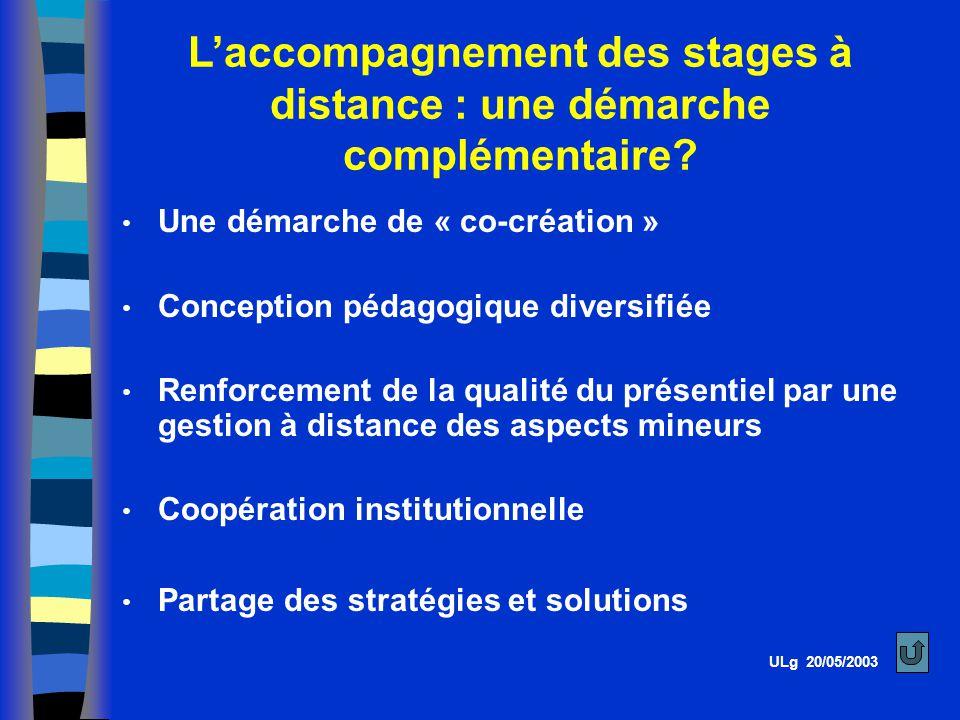 Laccompagnement des stages à distance : une démarche complémentaire.
