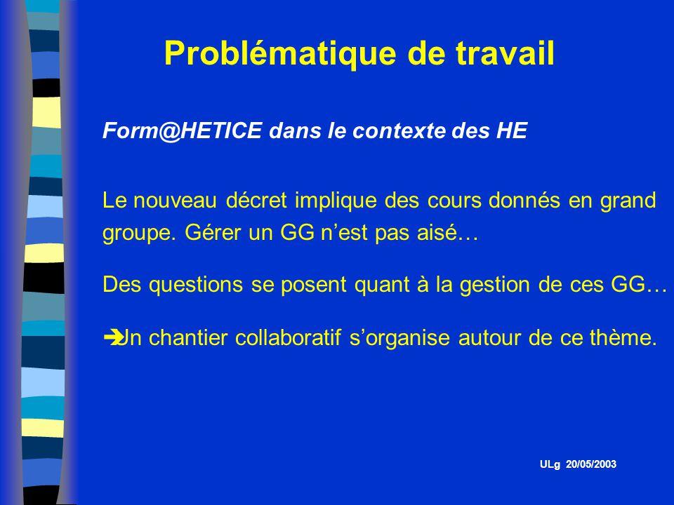 Problématique de travail Form@HETICE dans le contexte des HE Le nouveau décret implique des cours donnés en grand groupe.