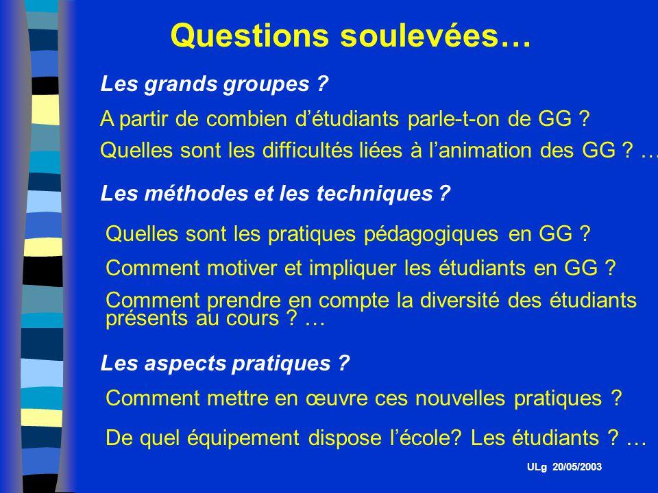 Questions soulevées… Les grands groupes .A partir de combien détudiants parle-t-on de GG .