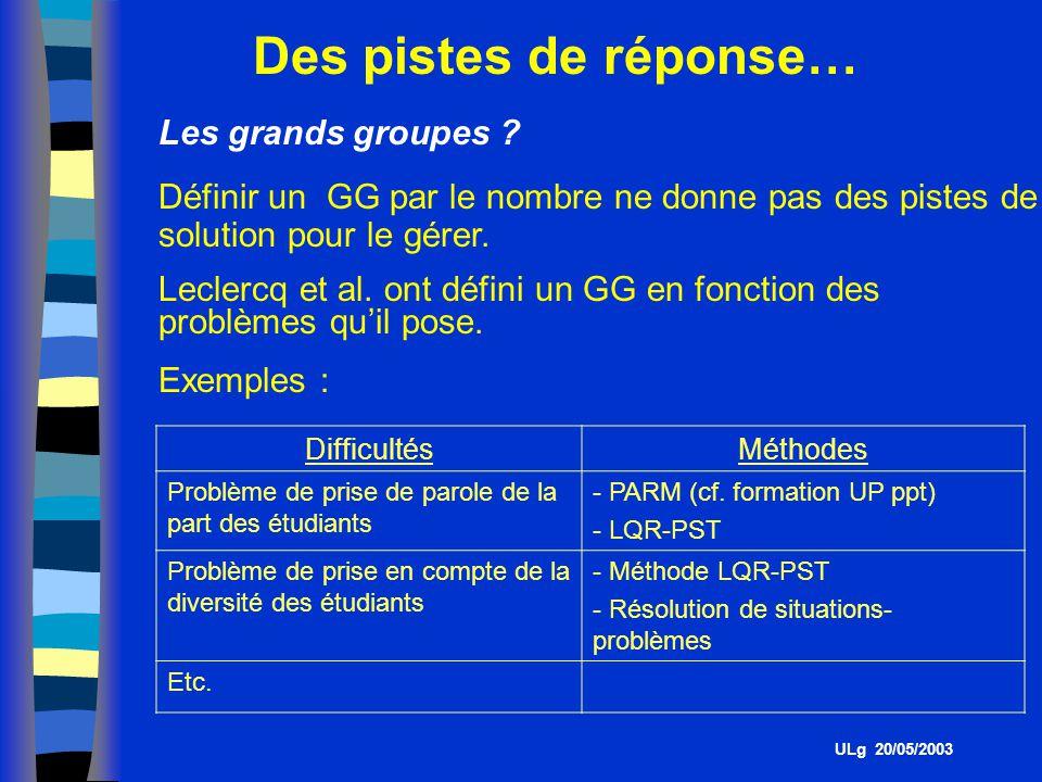 Des pistes de réponse… Les grands groupes .