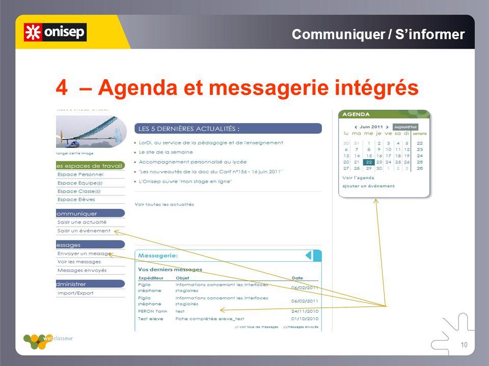 Communiquer / Sinformer 4 – Agenda et messagerie intégrés 10
