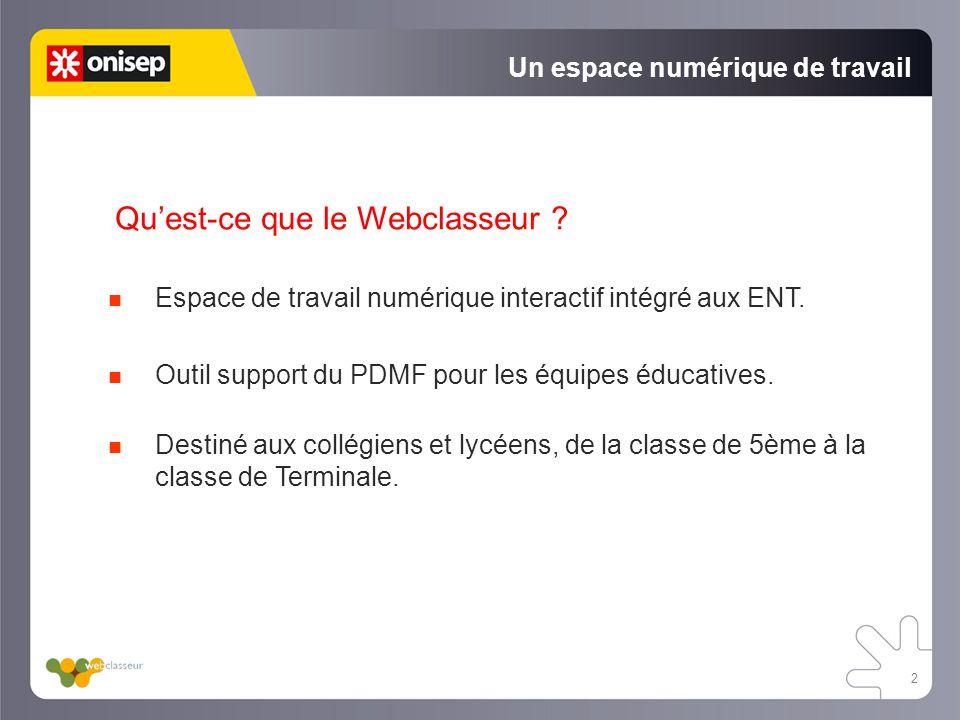 2 Un espace numérique de travail Quest-ce que le Webclasseur ? Espace de travail numérique interactif intégré aux ENT. Outil support du PDMF pour les