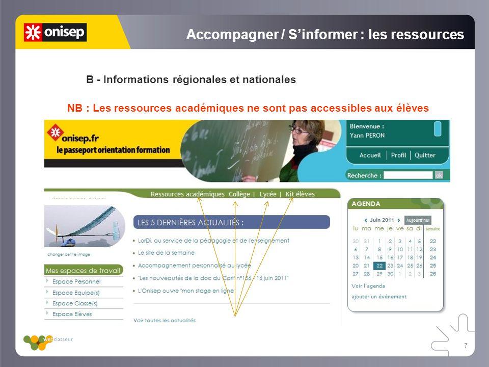 Accompagner / Sinformer : les ressources B - Informations régionales et nationales NB : Les ressources académiques ne sont pas accessibles aux élèves