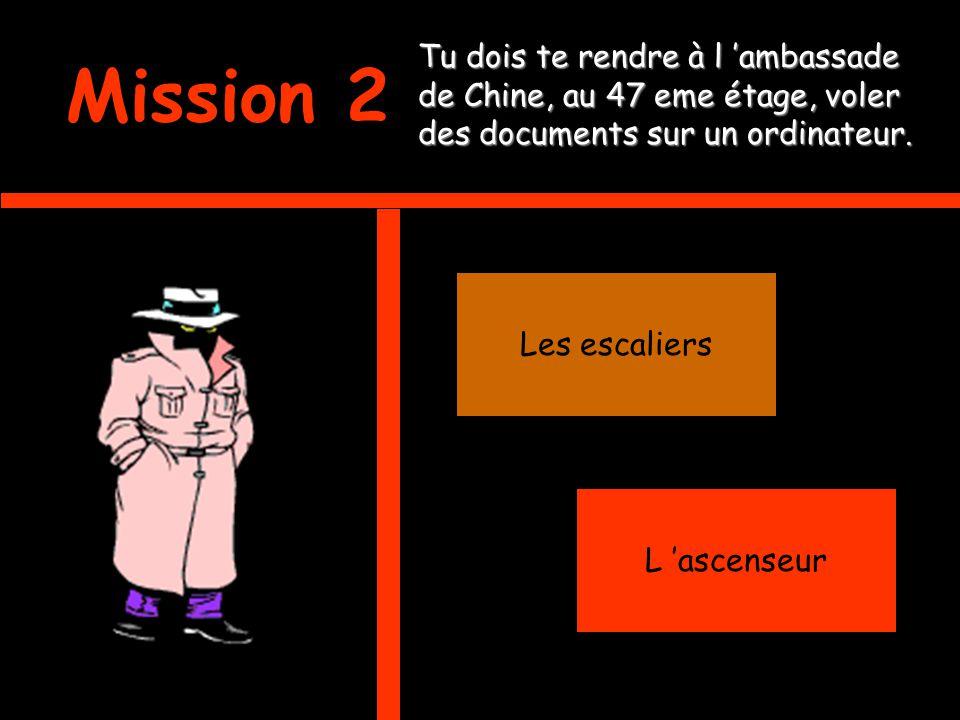 Mission 2 Tu dois te rendre à l ambassade de Chine, au 47 eme étage, voler des documents sur un ordinateur.