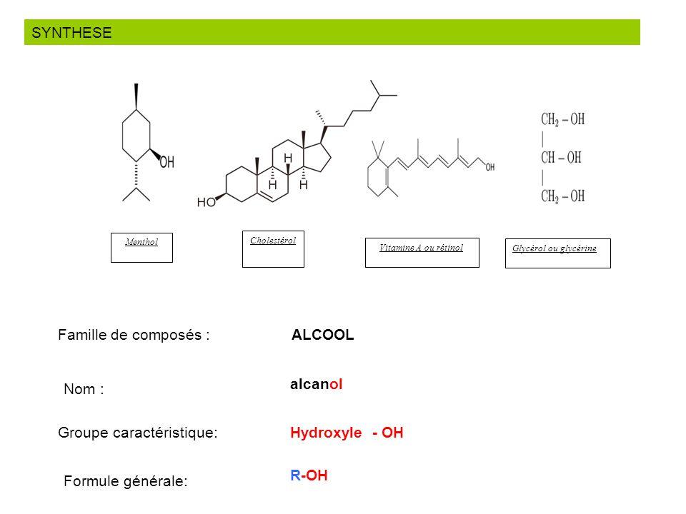 SYNTHESE Cholestérol Glycérol ou glycérine Menthol Vitamine A ou rétinol Famille de composés : ALCOOL Nom : alcanol Groupe caractéristique:Hydroxyle -