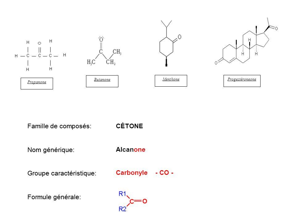 C H H H C C O Propanone Butanone Menthone Progestéroneone Famille de composés Nom générique Groupe caractéristique Formule générale CÉTONE Alcanone Ca