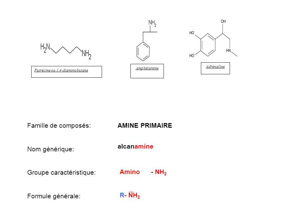 Putrécine ou 1,4-diaminobutane Adrénaline amphétamine Famille de composés: Nom générique: Groupe caractéristique: Formule générale: AMINE PRIMAIRE alc