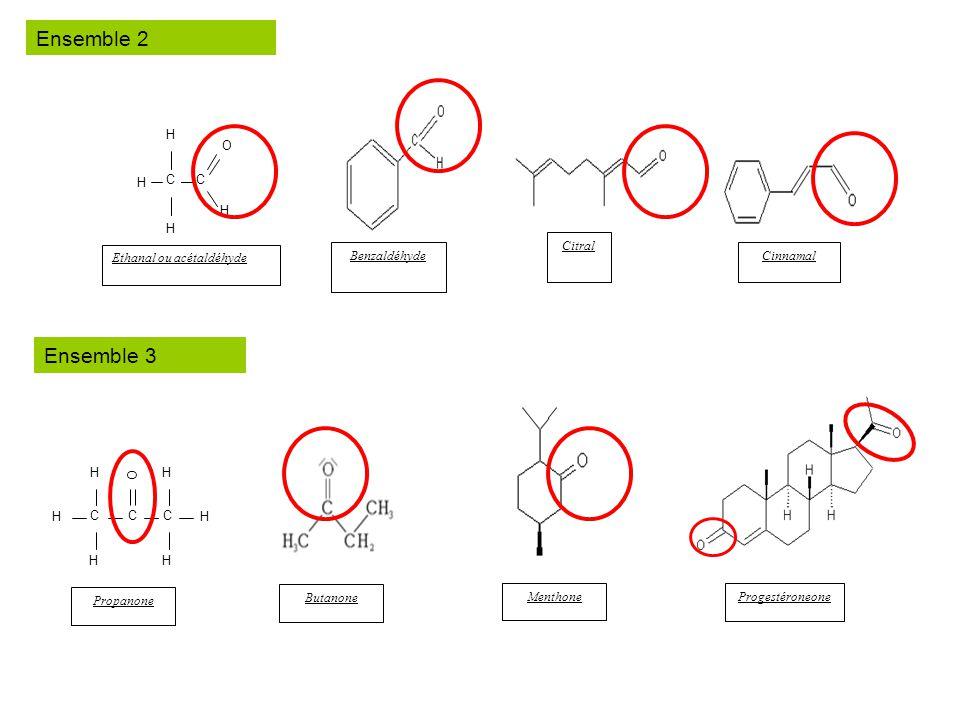 C H H C O H Ethanal ou acétaldéhyde Benzaldéhyde Citral Cinnamal C H H H C C H H H O Propanone Butanone Menthone Progestéroneone Ensemble 2 Ensemble 3
