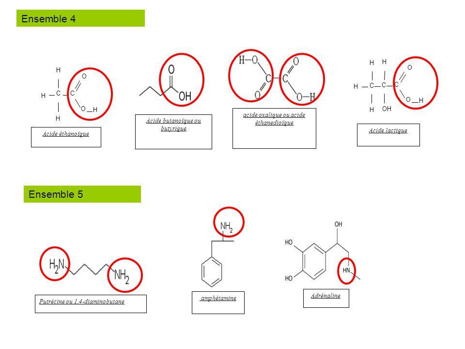 Acide lactique H C C H H C O O H OH Acide butanoïque ou butyrique C H H C O O H Acide éthanoïque acide oxalique ou acide éthanedioïque Putrécine ou 1,