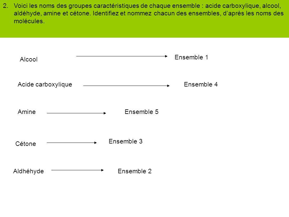 2. Voici les noms des groupes caractéristiques de chaque ensemble : acide carboxylique, alcool, aldéhyde, amine et cétone. Identifiez et nommez chacun