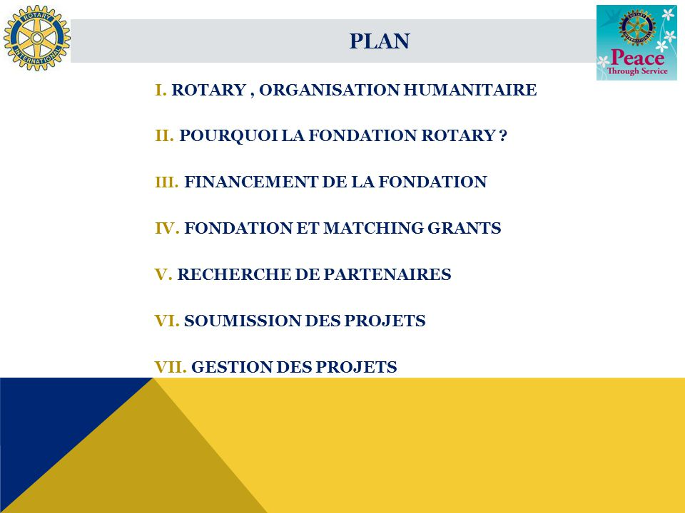 I. ROTARY, ORGANISATION HUMANITAIRE II. POURQUOI LA FONDATION ROTARY .