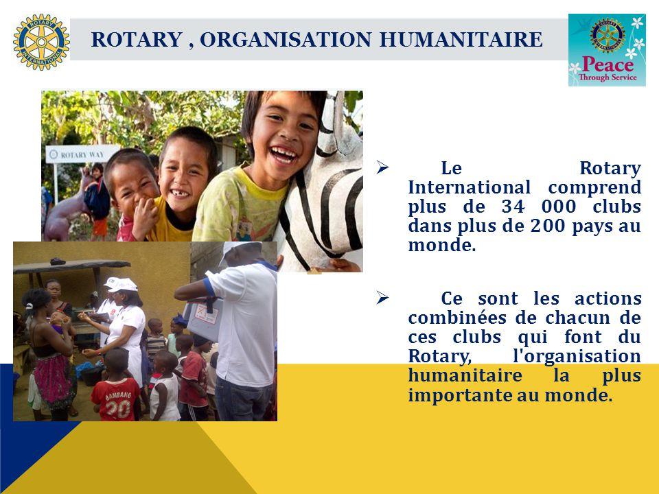 ROTARY, ORGANISATION HUMANITAIRE Le Rotary International comprend plus de 34 000 clubs dans plus de 200 pays au monde.