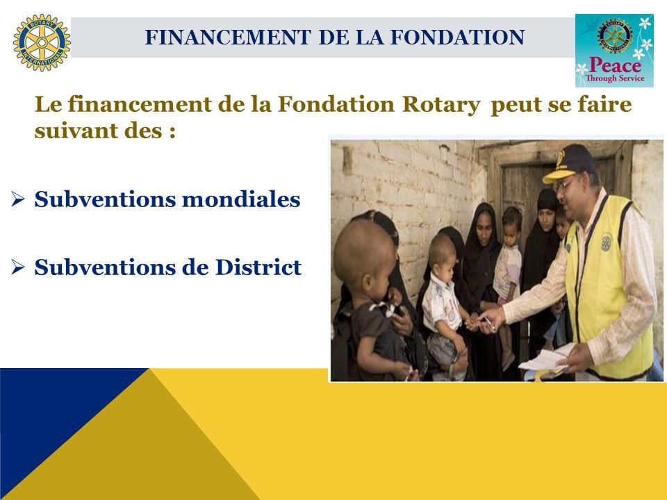 Le financement de la Fondation Rotary peut se faire suivant des : Subventions mondiales Subventions de District FINANCEMENT DE LA FONDATION