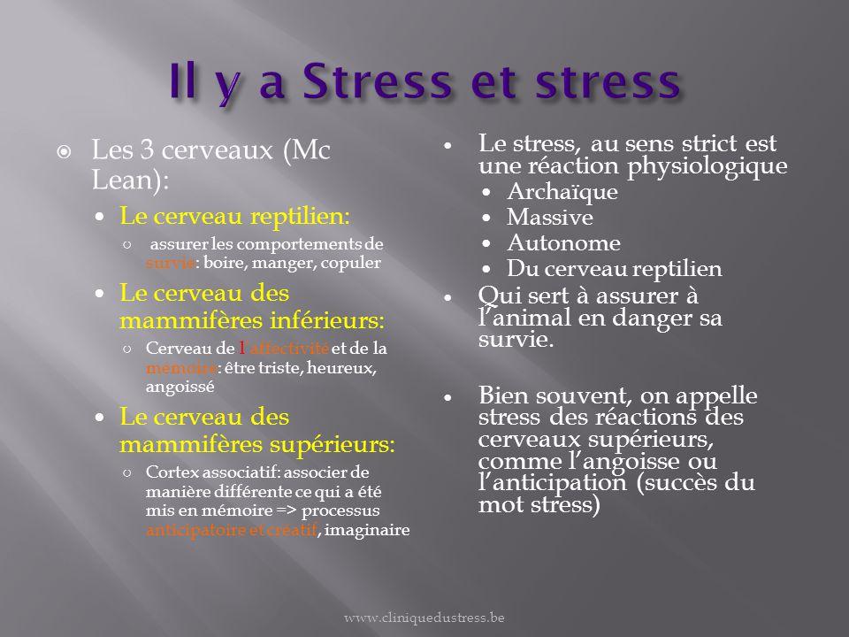 Le stress, au sens strict est une réaction physiologique Archaïque Massive Autonome Du cerveau reptilien Qui sert à assurer à lanimal en danger sa sur