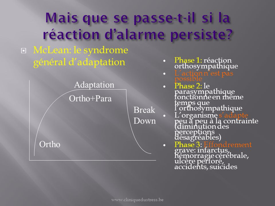 McLean: le syndrome général dadaptation Ortho Adaptation Ortho+Para Break Down Phase 1: réaction orthosympathique Laction nest pas possible Phase 2: l