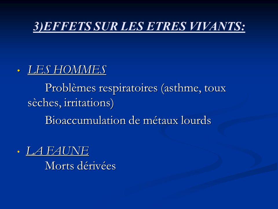 3)EFFETS SUR LES ETRES VIVANTS: LES HOMMES LES HOMMES Problèmes respiratoires (asthme, toux sèches, irritations) Bioaccumulation de métaux lourds LA F