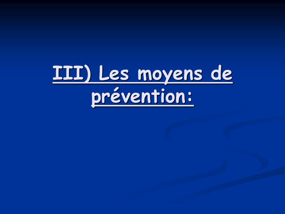 III) Les moyens de prévention: