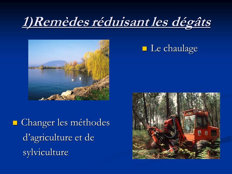 1)Remèdes réduisant les dégâts Le chaulage Changer les méthodes dagriculture et de sylviculture