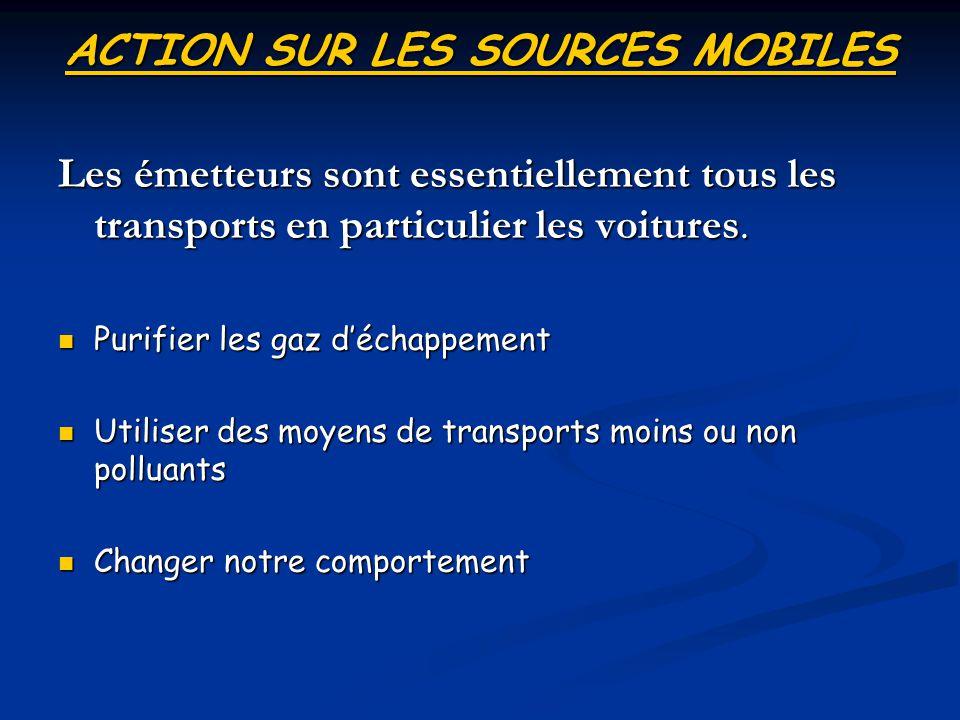 ACTION SUR LES SOURCES MOBILES Les émetteurs sont essentiellement tous les transports en particulier les voitures. Purifier les gaz déchappement Purif