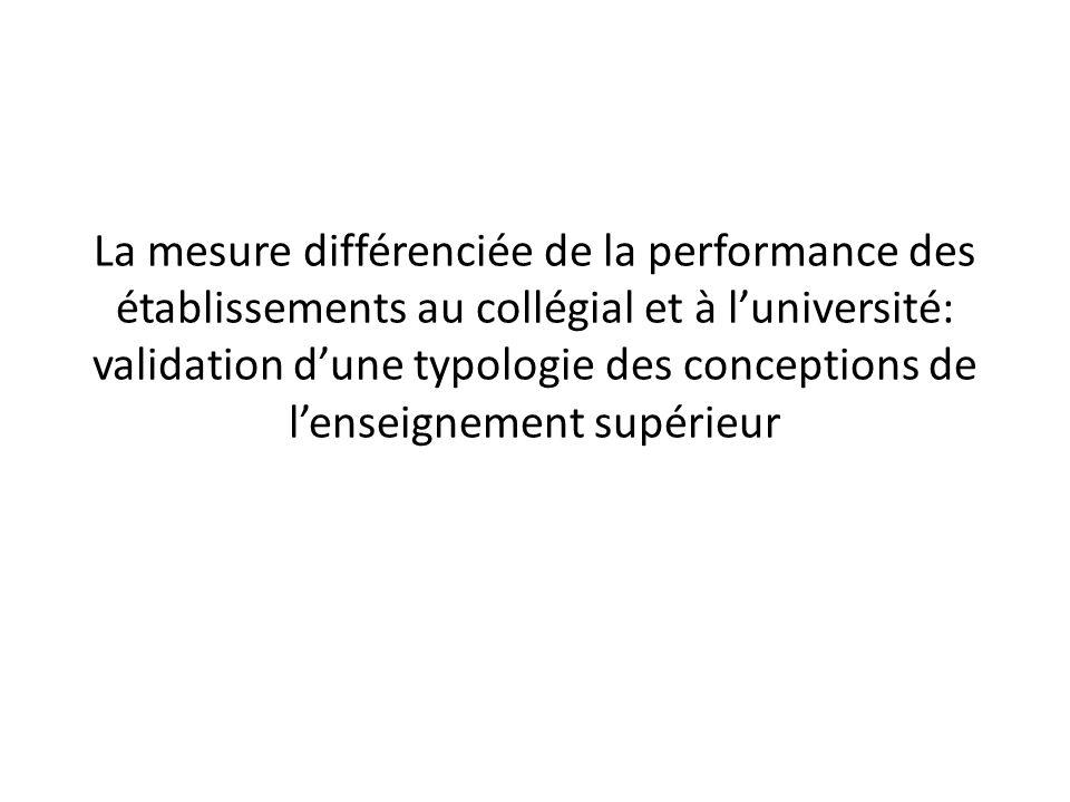La mesure différenciée de la performance des établissements au collégial et à luniversité: validation dune typologie des conceptions de lenseignement supérieur