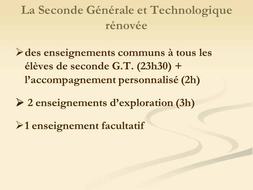 La Seconde Générale et Technologique rénovée des enseignements communs à tous les élèves de seconde G.T.