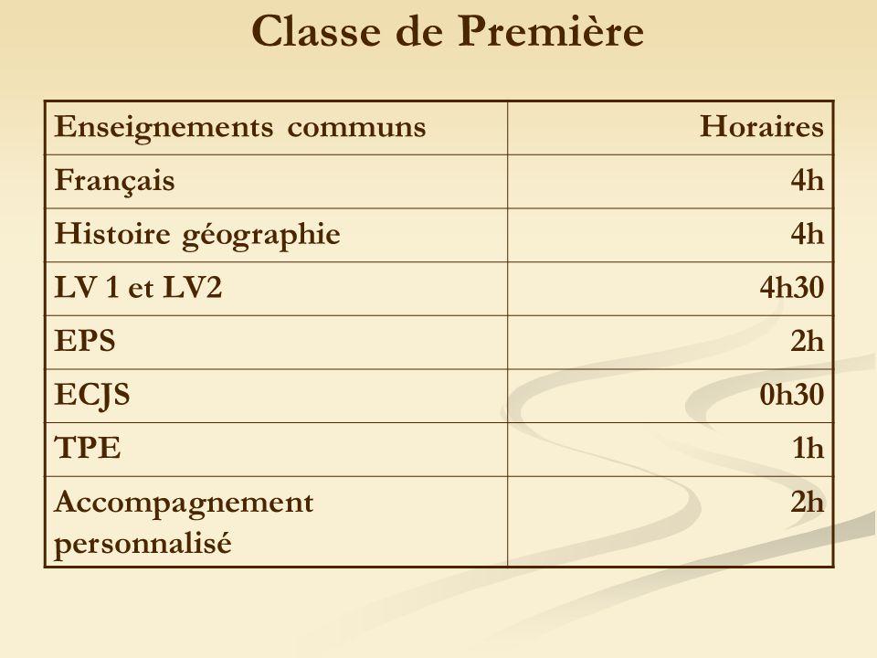 Enseignements communsHoraires Français4h Histoire géographie4h LV 1 et LV24h30 EPS2h ECJS0h30 TPE1h Accompagnement personnalisé 2h Classe de Première