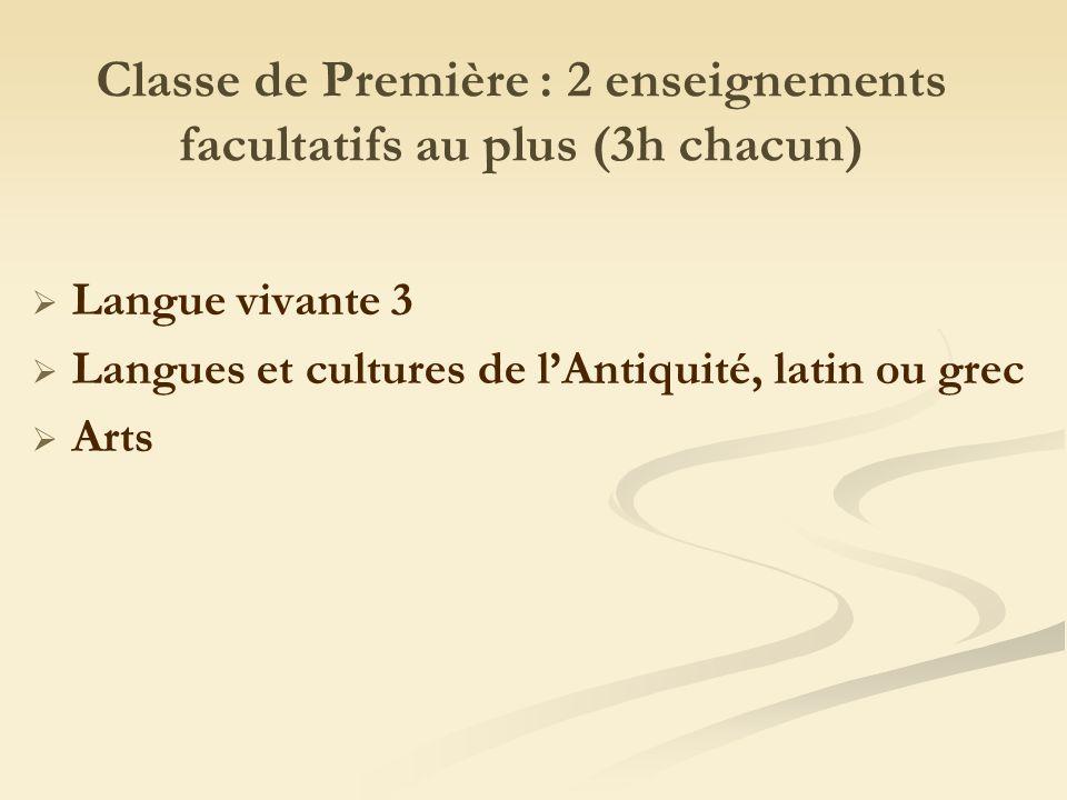 Classe de Première : 2 enseignements facultatifs au plus (3h chacun) Langue vivante 3 Langues et cultures de lAntiquité, latin ou grec Arts
